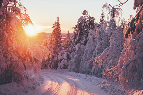 Winter road at sunset - JOHF05202