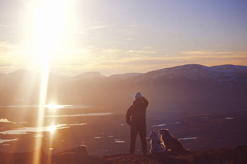 Person with dogs looking at mountains - JOHF05211