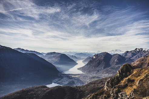Panoramic view on Lake Como from the mountains, Italy - MCVF00189