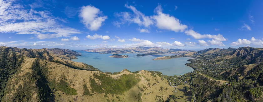 New Zealand, Governors Bay, Aerial panorama of Thomson Scenic Reserve - FOF11473