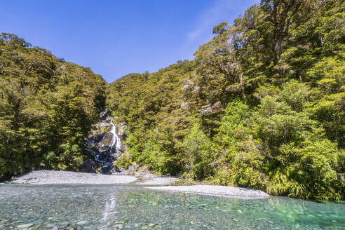 New Zealand, Scenic view of Faintail Falls in summer - FOF11476