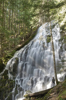 Rear view of hiker looking at waterfall at Mt Hood National Forest - CAVF73569