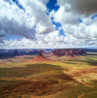 High angle view of Valley of the Gods against cloudy sky - CAVF73620