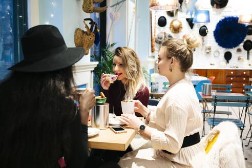 Girlfriends socializing in a cafe - DGOF00203