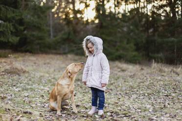 Girl with dog - JOHF06244