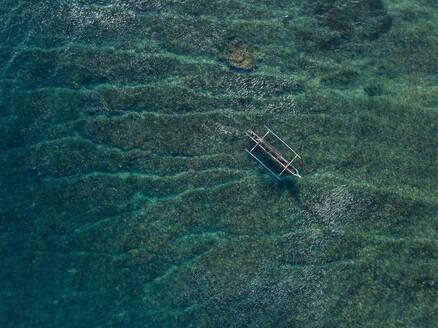 Aerial view of Banca boat in the ocean - CAVF74109