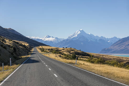 New Zealand, New Zealand State Highway 80 with Mount Cook in background - FOF11689