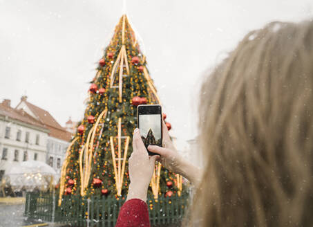 Crop view of woman taking photo of Christmas tree with smartphone on a snowy day - AHSF01845