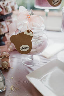 Candies in jar with bow on party table - LSF00089