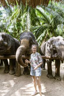 Portrait of smiling woman feeding elephants in sanctuary, Krabi, Thailand - CHPF00608