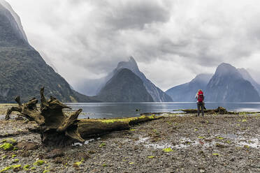New Zealand, Oceania, South Island, Southland, Fiordland National Park, Woman standing at Milford Sound, Mitre Peak in background - FOF11775
