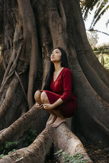 Beautiful young woman wearing a red dress crouching at a tree with large roots - TCEF00133
