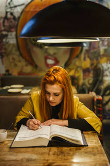 Portrait of redheaded young woman at table in a pub writing in a book - LJF01280