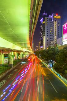 Luban Road Motorway Interchange at night, Luwan, Shanghai, China, Asia - RHPLF13814