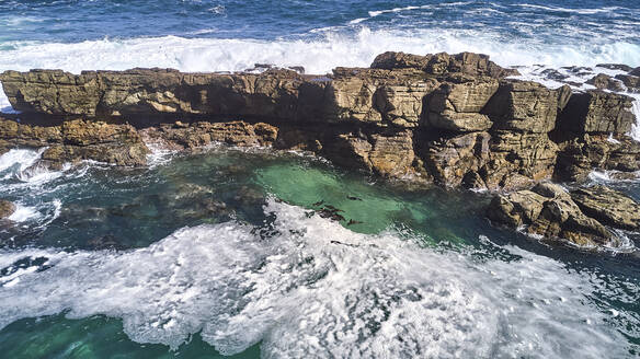 South Africa, Robberg Nature Reserve, Aerial view of rocky coast - VEGF01543