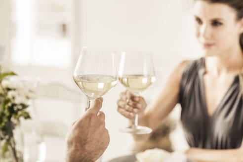Young woman having dinner with boyfriend clinking wine glasses - SDAHF00303
