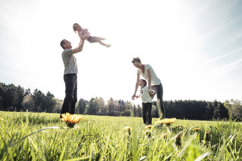 Happy family with two kids on a meadow in spring - WFF00284