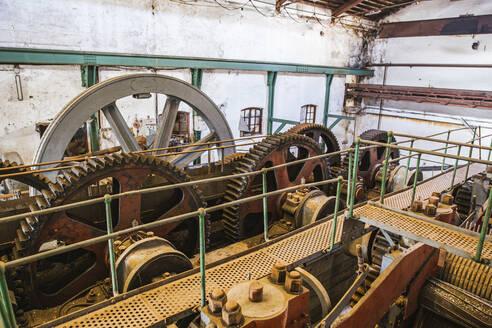 Spain, Granada, Salobrena, Interior of abandoned sugar factory - LJF01365