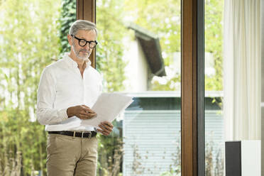 Senior man with grey hair in modern design living room standing at window reading papers in home office - SBOF02117