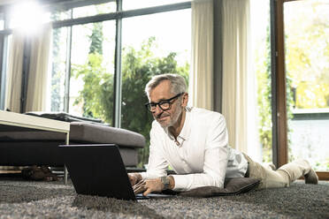 Smiling senior man with grey hair in modern design living room working on laptop - SBOF02120