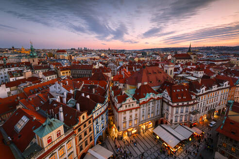 View of the historical city centre of Prague from town hall tower. - CAVF75416