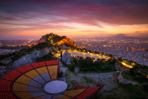 View of Lycabettus hill and Athens at sunset, Greece. - CAVF75455