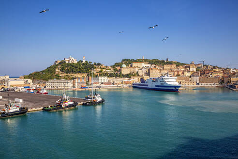 Italy, Province of Ancona, Ancona, Ferries and cruise ship moored in harbor of coastal city - MAMF01192
