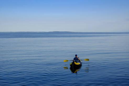 Canoeist in the sea, Kattegat, Tylosand, Halland, Sweden - LBF02892