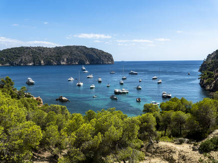 Spain, Balearic Islands, Camp de Mar, Various boats floating in bay of Mallorca island - AMF07895