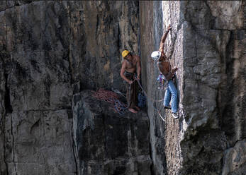 Rock climbers, Mother Carey's Kitchen, Pembrokeshire, United Kingdom - ALRF01738