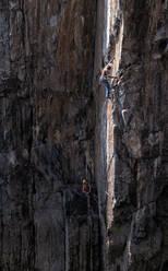 Rock climbers, Mother Carey's Kitchen, Pembrokeshire, United Kingdom - ALRF01741