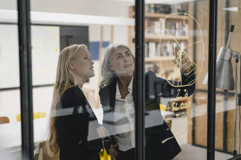 Mature and young businesswoman looking at chart on glass pane in office - GUSF03401