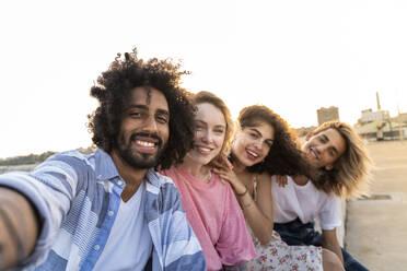 Portrait of happy friends outdoors - AFVF05508