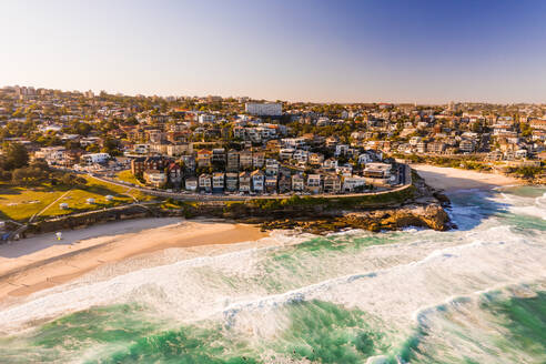 Aerial view of the shore of the bay, Bronte, New South Wales, Australia - AAEF06755