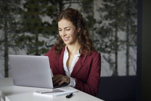 Smiling businesswoman using laptop in office - RBF07077