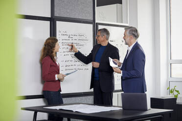 Two businessmen and businesswoman working together on a project in office - RBF07116