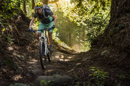 Woman riding mountainbike on forest track, Santa Cruz, California, USA - MSUF00225