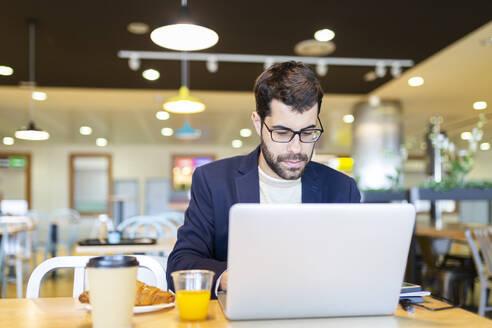 Portrait of bearded businessman working on laptop in a coffee shop - JPTF00481