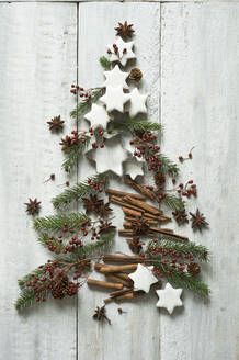 Star shaped cookies, cinnamon sticks, fir twigs, star anise, cookie cutters, pine cones and rose hips arranged into shape of Christmas tree - ASF06602