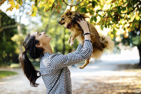 Happy young woman holding dog in a park - SODF00716