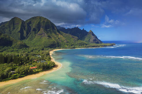 Aerial view by drone of Tunnels Beach, Haena State Park, Kauai Island, Hawaii, United States of America, North America - RHPLF14067