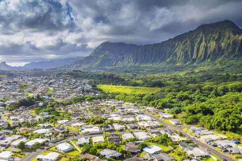 Aerial view by drone of Kailua town, Oahu Island, Hawaii, United States of America, North America - RHPLF14136
