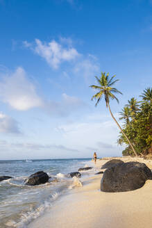 A local man walking on North Beach, Little Corn Island, Islas del Maiz (Corn Islands), Nicaragua, Central America - RHPLF14193