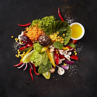 Heap of various culinary ingredients for salad - KSWF02139