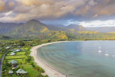 Aerial view by drone of Hanalei Bay, Kauai Island, Hawaii, United States of America, North America - RHPLF14400