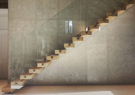 Home showcase interior modern floating wooden staircase - HOXF05291