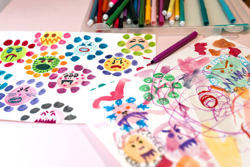 Children's drawings of ugly viruses made with watercolors and color markers - GEMF03508