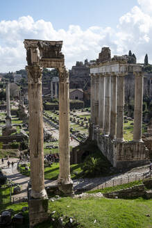 Italy, Rome, Roman Forum and colonnades of Temple of Vespasian and Titus - HLF01236