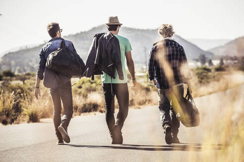 Rear view of three men with travelling bags walking on country road - SDAHF00668