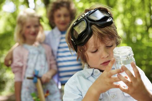 Portrait of boy holding jar in forest - AUF00223